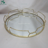Metal Round Mirrored Tray Gold