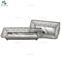 Silvered Mirrored Glass Metal Serving Tray