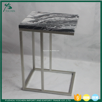 Faux Marble Top Metal Square Side Table