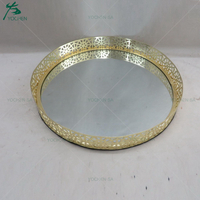 Metal Mirror Facing Serving Tray in Gold