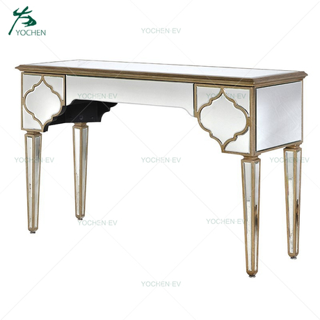 One Big Drawer Vintage Gold Silver Glass Hallway Console Table
