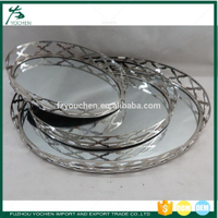 Jardinere Tray With Mirror Round Plated Silver