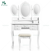 7 Drawers Triple Mirror White Color Wholesale Makeup Vanity Table