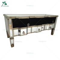 Vintage Mirrored Silver Gilded Three Drawers Media Unit
