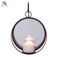 Wrought Iron Wall Hanging Candlestick Metal Wall Candle Holder