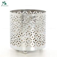 Metal cut sliver candle holder