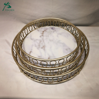 Wholesale vintage mirror tray marble top gold metal tray