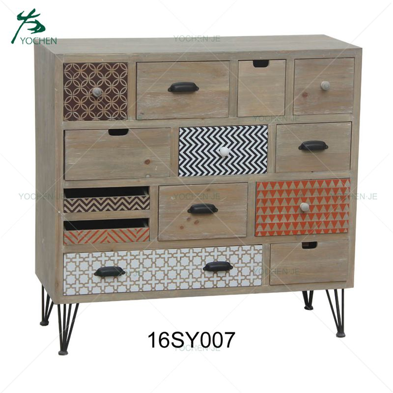 Modern living room wooden storage cabinet with 6 drawers