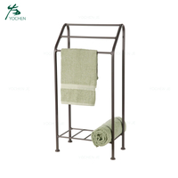 Free standing wrought iron towel rack bathroom towel shelf
