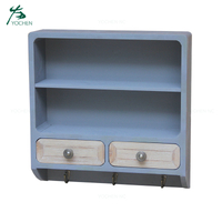2 drawers wooden decorative wall shelf