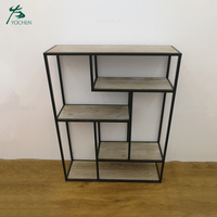 Decorative modern metal frame wooden storage wall shelf