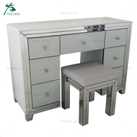 Solid wood white luxury mirrored dressing table with mirror