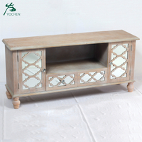 Wood Lattice Mirrored Wooden Two Drawer Two Cupboard Media TV Unit
