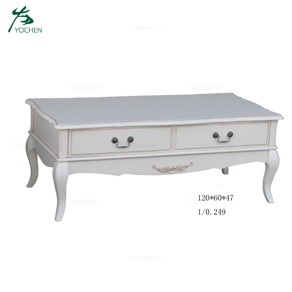 Living Room White Wooden Chest TV Stand With Drawer