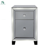 Home decoration clear mirrored 2 drawer bedside chest (56*35*38cm)