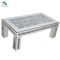 living room modern design crushed diamond glass coffee center table