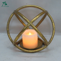 Gold Geometric Metal Tea Light Candle Holder