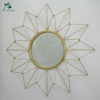 Modern mounted hanging home art decorative gold wall mirror