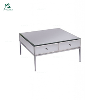Home Funiture Toughened Stainless Steel Mirror Coffee Table