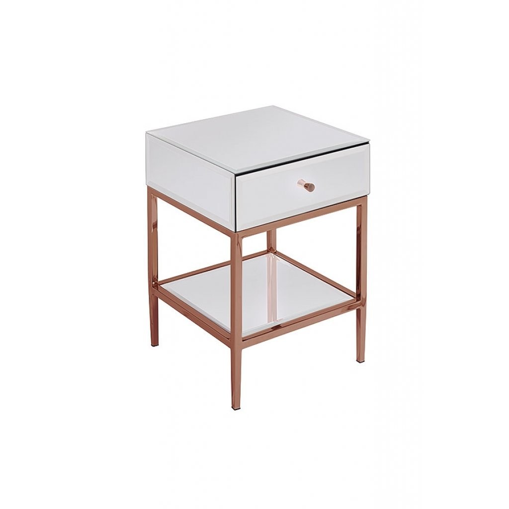 Bedroom furniture rose gold Stainless Steel mirrored furniture bedside table