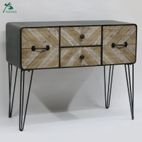 Console table 4 drawers Industrial style chest with hairpin legs