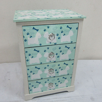 Child interest nature green dog printing wooden cabinet with 4 drawers for children room
