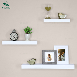 Set of 3 white wooden floating wall shelf