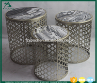 Metal Round Nesting Accent Table with Marble Top