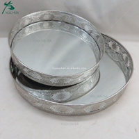 Moroccan Round Silver Mirrored Tray Set 2