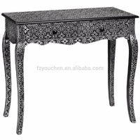 Marrakech two drawer console table in antique black aluminum