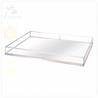 Grand Master Silver Grey Rectangular Metal Tray for Table Decorative