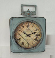 Industrial Vintage Blue Metal Rectangular Outdoor Clock