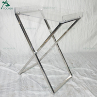Stainless Steel Folding Acrylic Top Side End Table Lamp Table