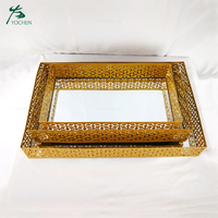 Wedding decoration vintage glass mirror tray