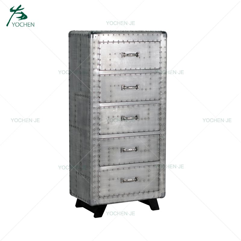 Aluminum Industrial Wooden Movable Cabinet 2 Drawer