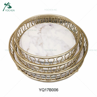set 3 round metal faux marble serving tray