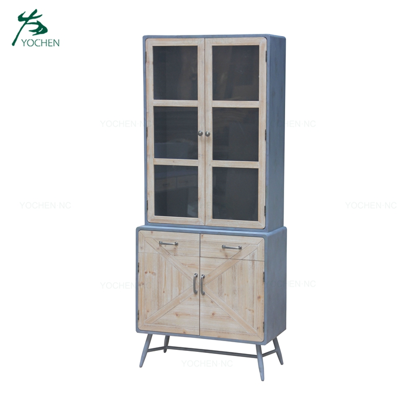 Home vintage antique furniture 2 door wooden living room cabinet