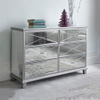 silver glass mirrored furniture chest of drawers