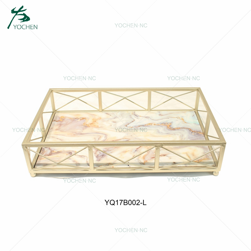 Table decor perfume serving marble metal tray
