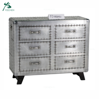 vintage living room wood furniture aluminum sheet surface cabinets storage