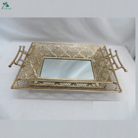 Antique mirror tray vanity vintage mirror tray rectangle metal tray gold