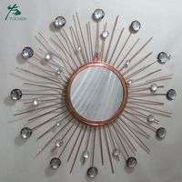 Sun Shape Living Room Decorative Wall Metal Mirror