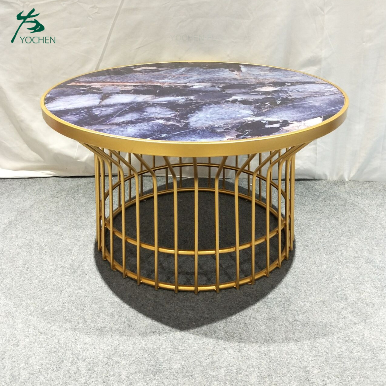 living room furniture modern round metal coffee side table