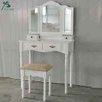 Shabby chic White Painted Wooden Dresser Bedroom Furniture with Folding Mirror
