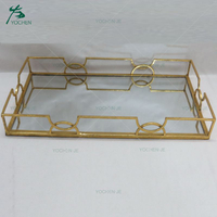 Wholesale vanity metal glass mirror serving tray