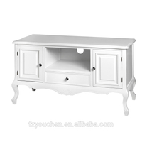Two Doors French Furniture White Wood TV Stand