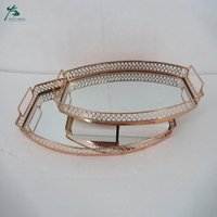 Wholesale Iron Frame Mirror Tray Hotel Metal Serving Tray