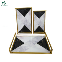 Rectangle Marble decorative serving mirror metal tray for wholesale service