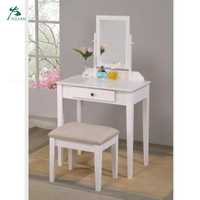 Modern Vanity Dressing Table/Stool, White Finish with Beige Seat