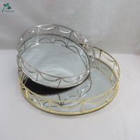 Round mirror bar tray with chrome railing Two-piece set